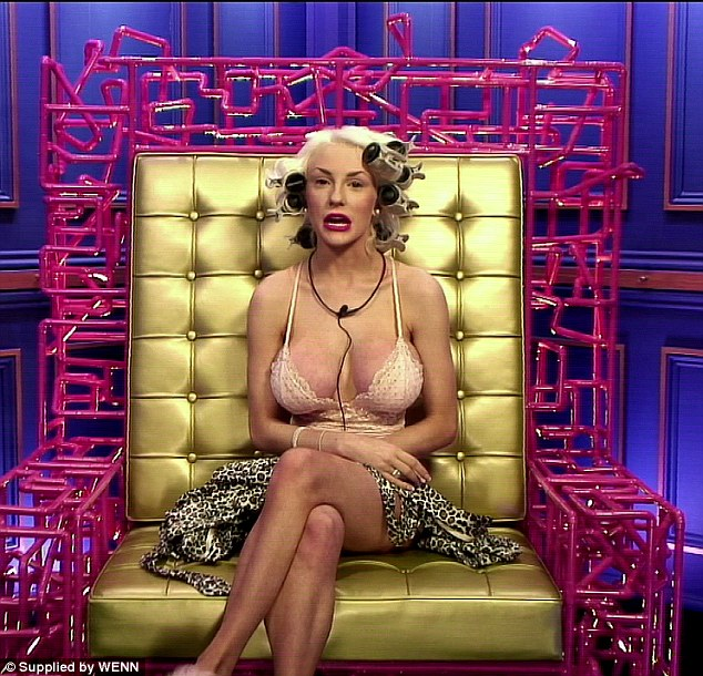 Almost falling out: Courtney Stodden talks to Big Brother in the diary room with her boobs almost falling out of her tiny vest top
