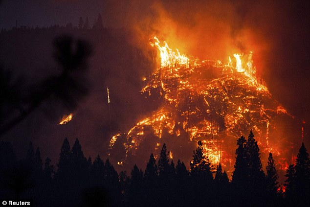 Menacing glow: The Rim Fire burns near Buck Meadows, California, August 24, 2013