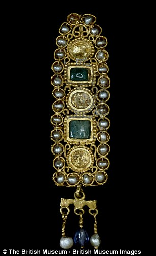 Roman gold hair ornament, set with natural pearls, emeralds and sapphires, 3rd Century AD
