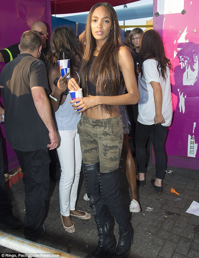 Having a blast: The effortlessly cool and stunning Jourdan Dunn even found time to party at the Red Bull sound system during Notting Hill Carnival, and looks just as stunning dressed in clothes