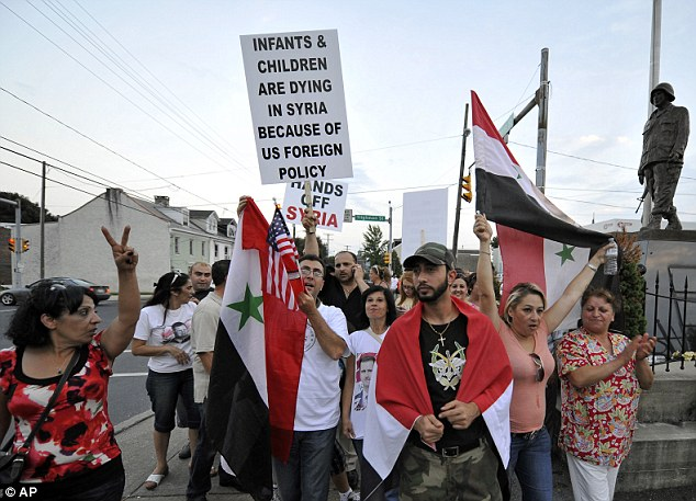 Rallying: The local Syrian community protests against US involvement in Syria, in Allentown, Pennsylvania