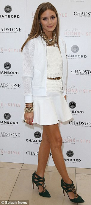 Fashion savvy: Olivia Palermo was graceful in an all-white outfit as she attended the Chadstone Shopping Centre's fashion launch in Melbroune, Australia on Wednesday