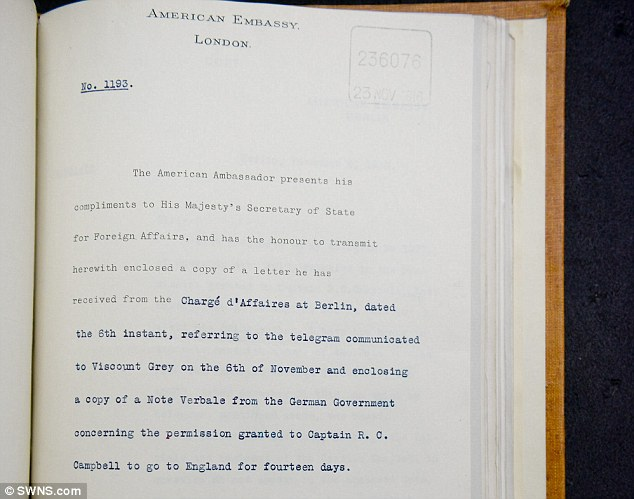 More detail: This official memo from the U.S. Embassy in London showed that the agreement between Campbell and the Germans went via the Americans