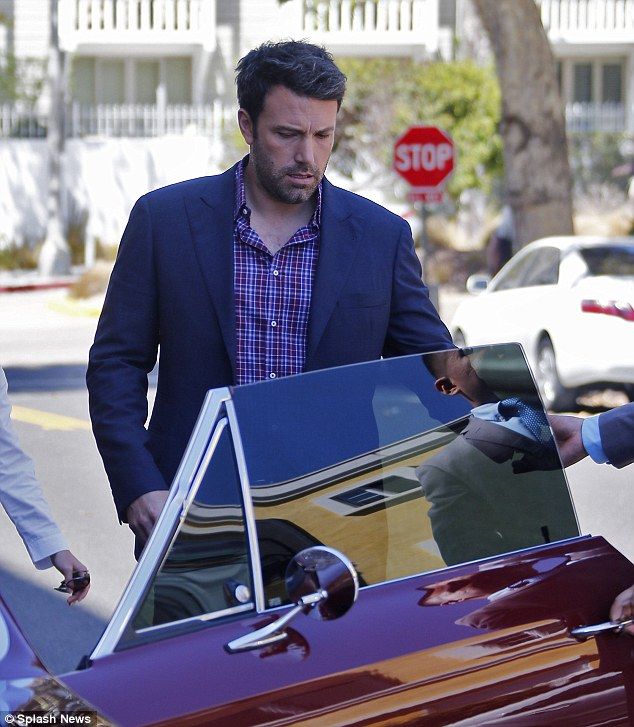Not quite the batmobile: Ben Affleck was seen arriving at the Casa del Mare Hotel in Santa Monica on Tuesday in his classic 1966 Chevy Malibu SS