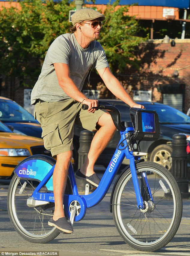 Healthy choice: The actor was spotted taking advantage of New York's new bikeshare programme on Thursday