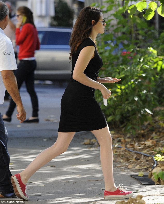 Leggy lady: The Twilight star looked gorgeous in the simple dress, which displayed her long legs to perfection