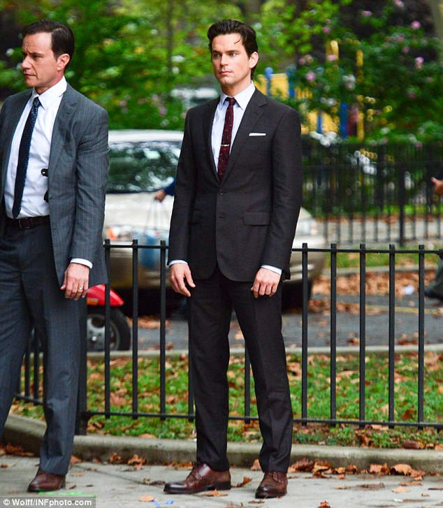 What controversy: If Matt Bomer got wind of the petition to get him cast in 50 Shades Of Grey he sure didn't show it as he filmed scenes for his series White Collar in New York on Tuesday alongside co-star Tim DeKay