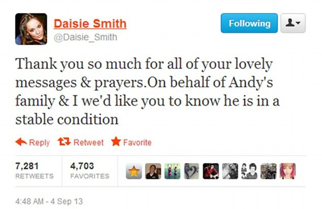 Pulling through: Andy's girlfriend Daisie Smith tweeted her thanks for the well-wishes for Andy following the fire
