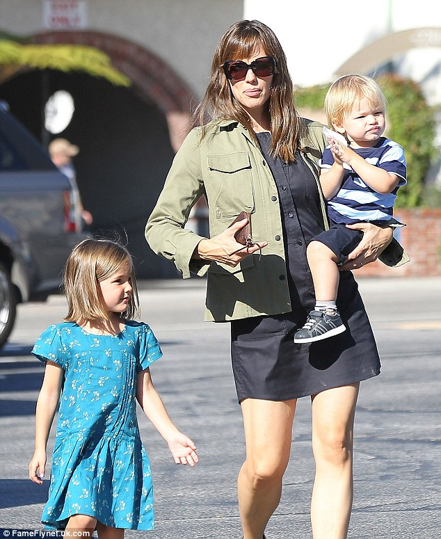 Full day: Earlier on Wednesday, Jennifer took her other children, Seraphina and Samuel, to the park in L.A.'s Pacific Palisades