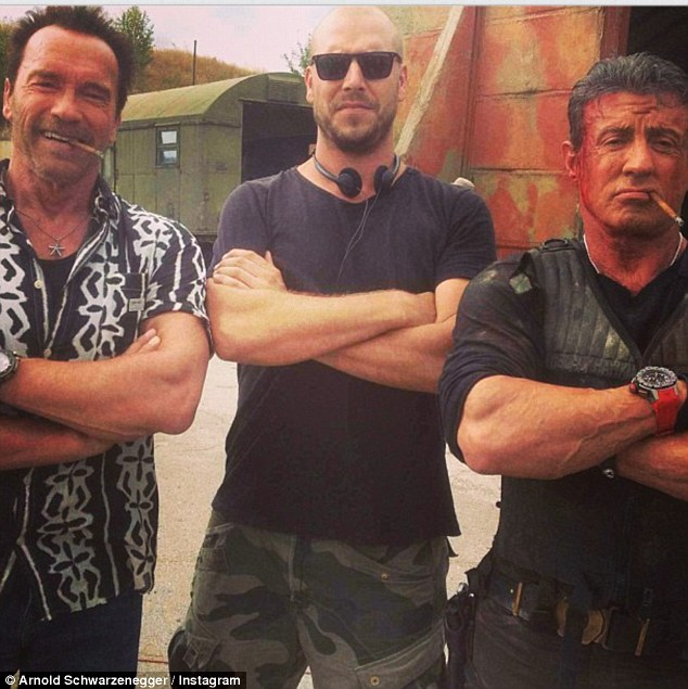 'Sly and I are having a great time!' Arnold Schwarzenegger posted an Instagram snap of himself and Sylvester Stallone from the set of The Expendables 3 in Bulgaria
