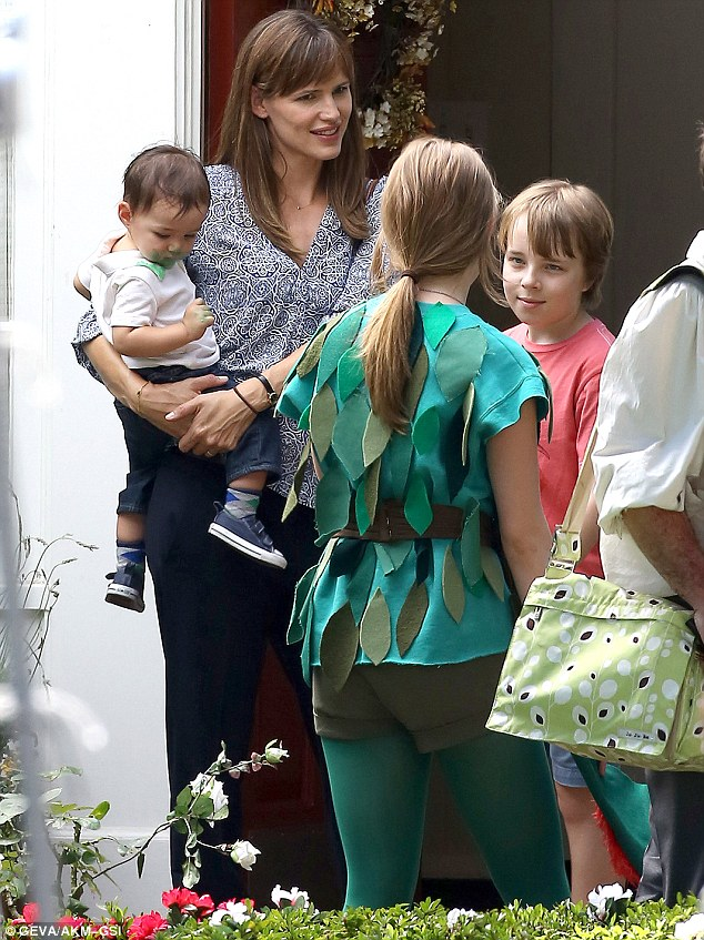 Hard at work: Jennifer Garner was filming Alexander and the Terrible, Horrible, No Good, Very Bad Day in Pasadena, California with her on-set children on Thursday