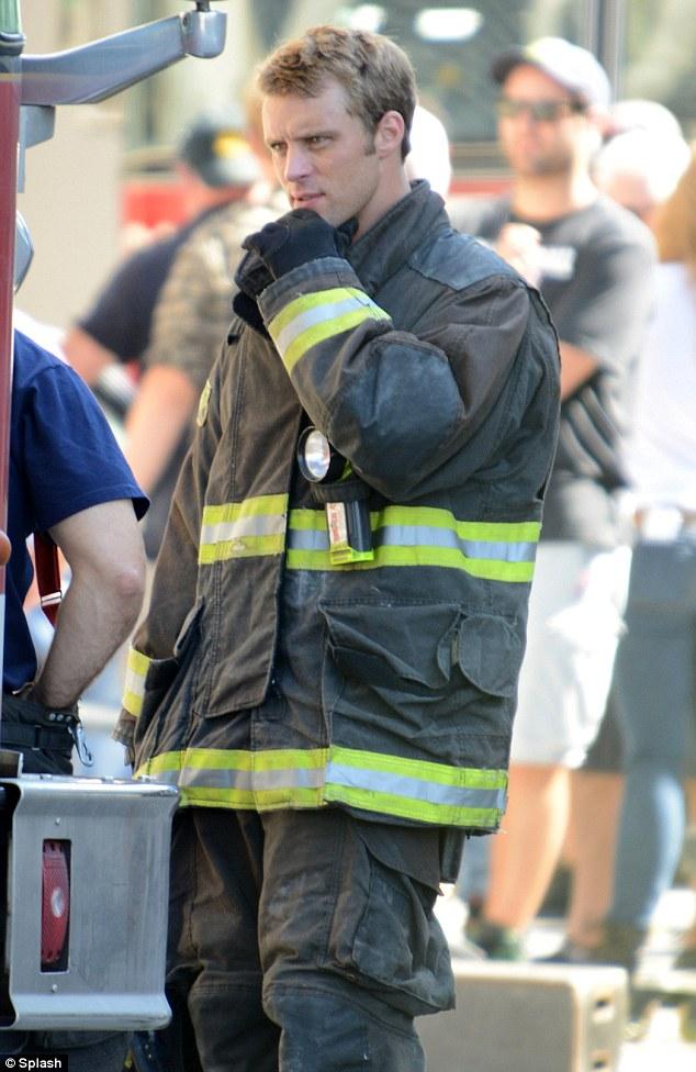Waiting his turn: Also on set was fellow television heartthrob Jesse Spencer, who plays no nonsense lieutenant Matthew Casey