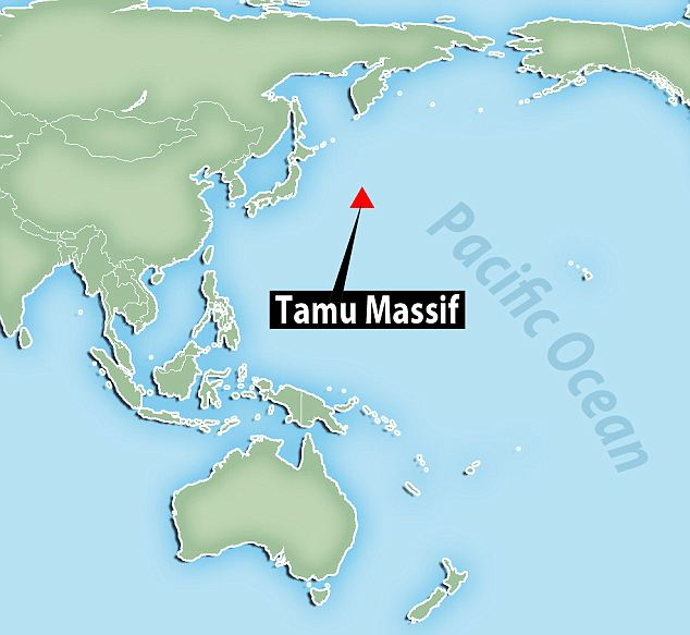Tamu Massif is the largest feature of the Shatsky Rise mountain range, marked by A on this map, situated around 1,000 miles east of Japan. The range was formed following the eruption of the Tamu Massif volcano between 130 and 145 million years ago