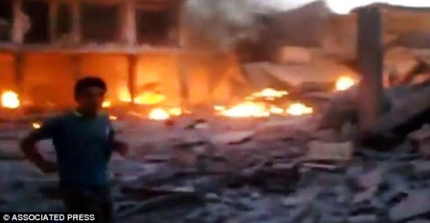 Devastation: A video obtained from the Shaam News Network showed the bomb's destructive aftermath