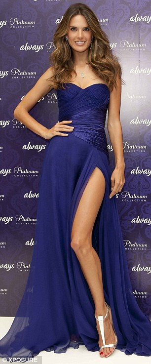 Model looks: She ensured her leg was fully on display thanks to the large side split in the gown