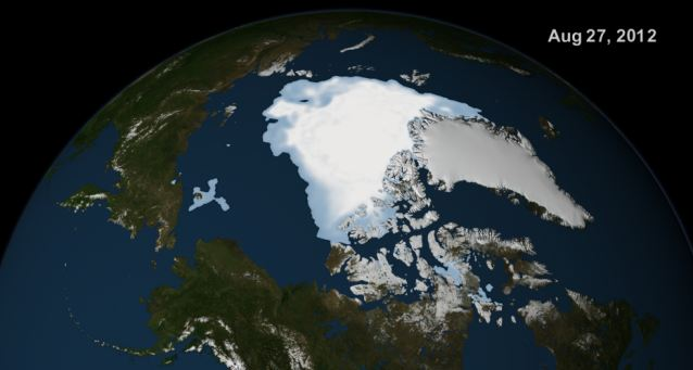 Then... NASA satelite images showing the spread of Artic sea ice 27th August 2012