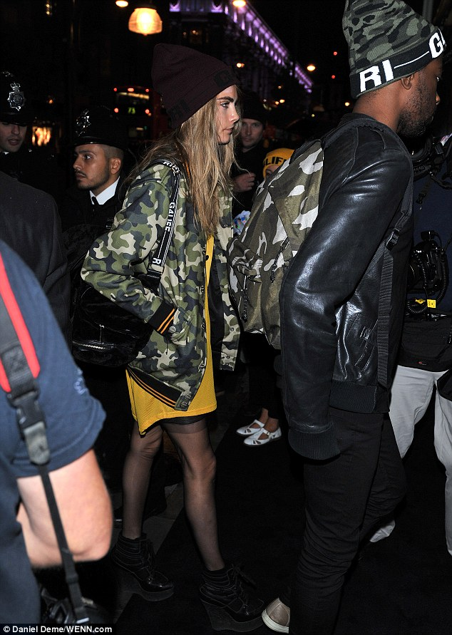 Friendly face: Cara Delevingne joined her Bajan friend for the fashionable party