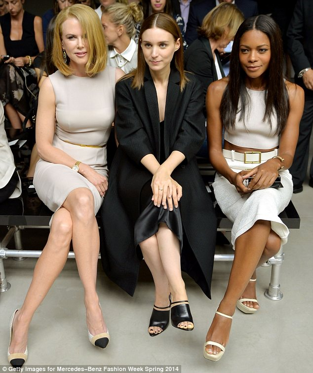 Fly in the ointment: Earlier on Nicole had sat beside fellow actresses Rooney Mara and Naomie Harris at Calvin Klein's show