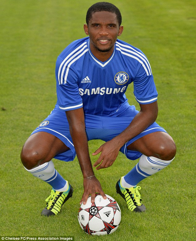 Friends reunited: New Chelsea striker Samuel Eto'o is delighted to be working under Jose Mourinho once again