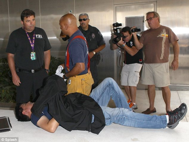 Chaotic scene: Photographer and videographer Daniel Ramos after his attack from Kanye West at LAX in July which was caught on camera