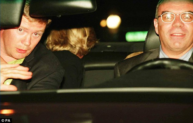 Diana is pictured moments before the crash which the woman claims was caused after an SAS soldier shone a light into the eyes of driver, Henri Paul (right). Diana's bodyguard Trevor Rees-Jones (left) was the accident's sole survivor