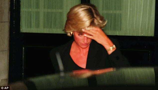 Last journey: Diana leaves the Ritz Hotel shortly before her death in the Paris underpass