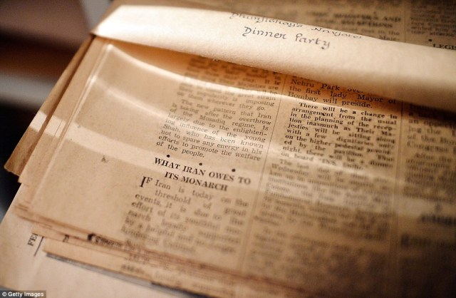Fading memories: An old newspaper cutting at the house where the couple had dinner parties when they stayed during the autumn before going home to India in the winter