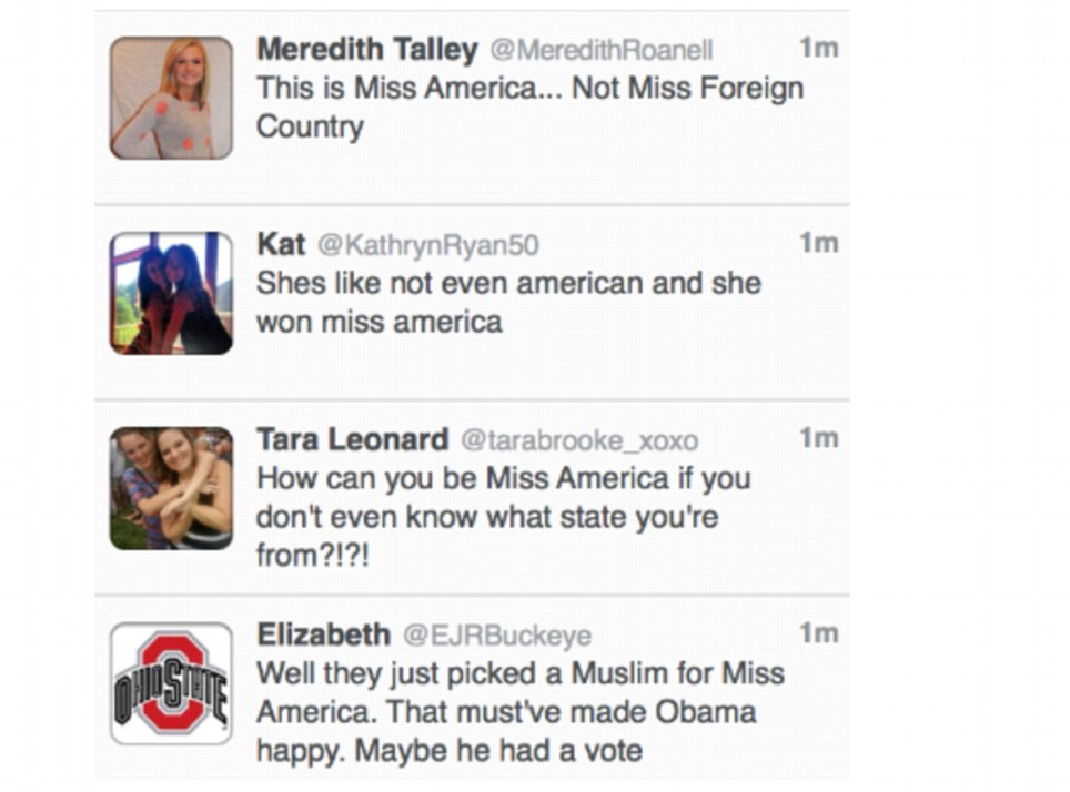 Miss America faced racists tweets online shortly after being crowned the 92nd winner