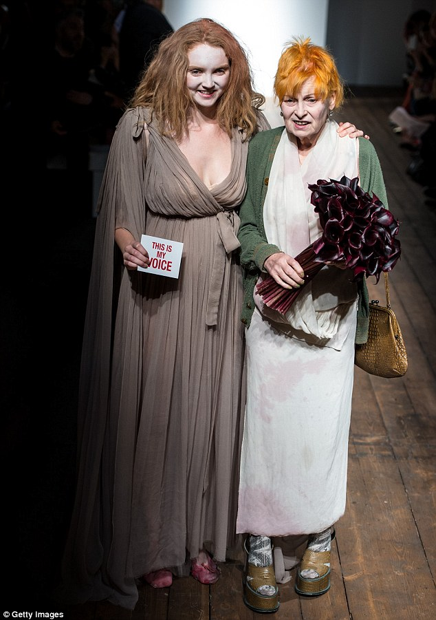 Act: Lily Cole said she had been nervous about her modern dance debut, which she had devised with the help of a friend, but said collaborating with Dame Vivienne was 'not even work'