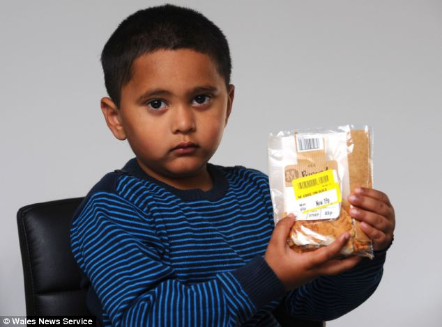 Yousuf Khan, three, ate the pasty, which contained meat that is banned in his culture