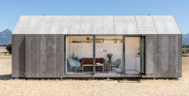 Assembled: But peel away the concrete panels and inside is a luxurious home