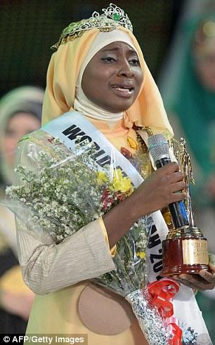 The newly crowned the Muslimah World 2013 Obabiyi Aishah Ajibola of Nigeria
