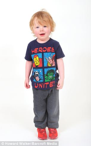 Logan, three, dressed in his normal clothes