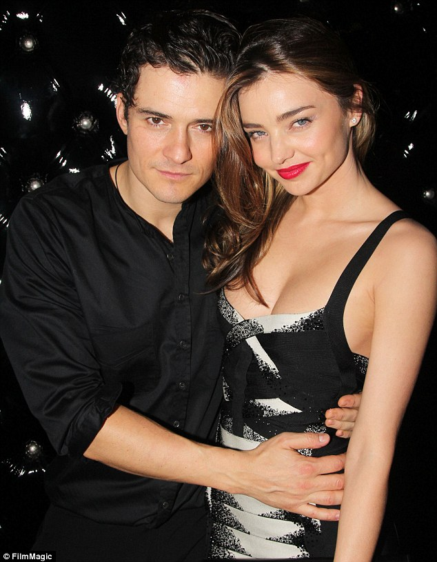 His real-life Juliet: Orlando Bloom cuddled up to wife Miranda Kerr at the afterparty following the opening night of his new play Romeo & Juliet on Broadway on Thursday night