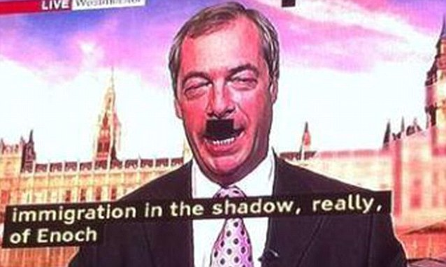 A technical glitch gave Ukip leader Nigel Farage a Hitler-style moustache during an appearance on BBC Breakfast yesterday