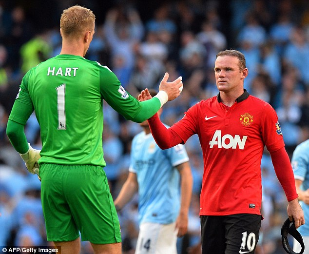Teammates on different sides: Joe Hart shakes hands with Rooney at the end