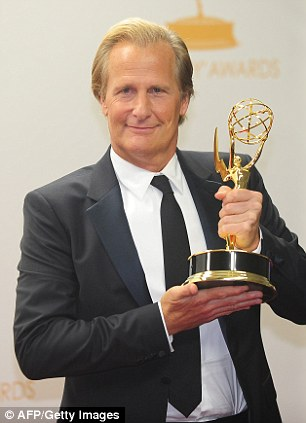 Proud: Jeff Daniels beat favourite Bryan Cranston for the Best Actor in a Drama gong on the night
