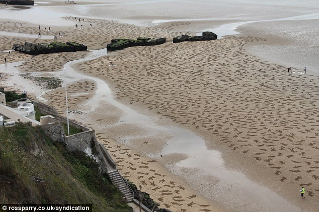 D-Day tribute on the Arromanches beach, Normandy