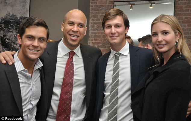 Image result for small picture of jared kushner with cory booker