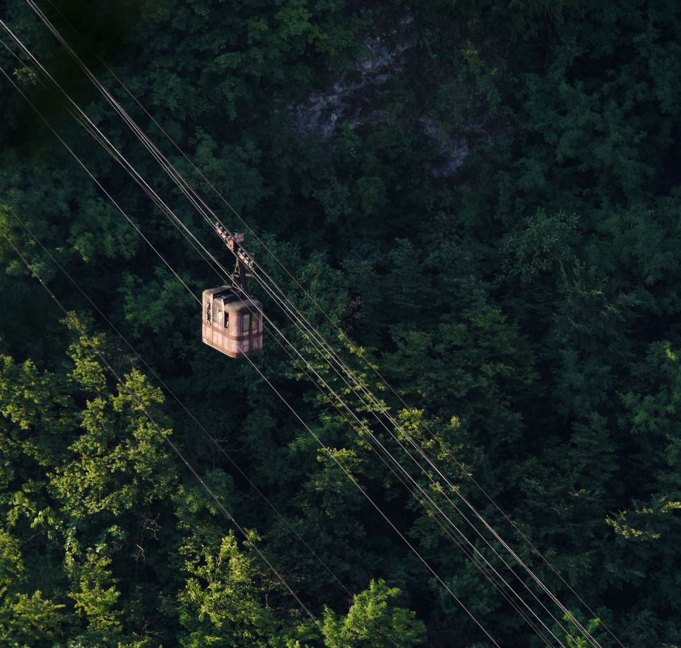 Forest: The tramway skims over trees during one of its many journeys across the valley