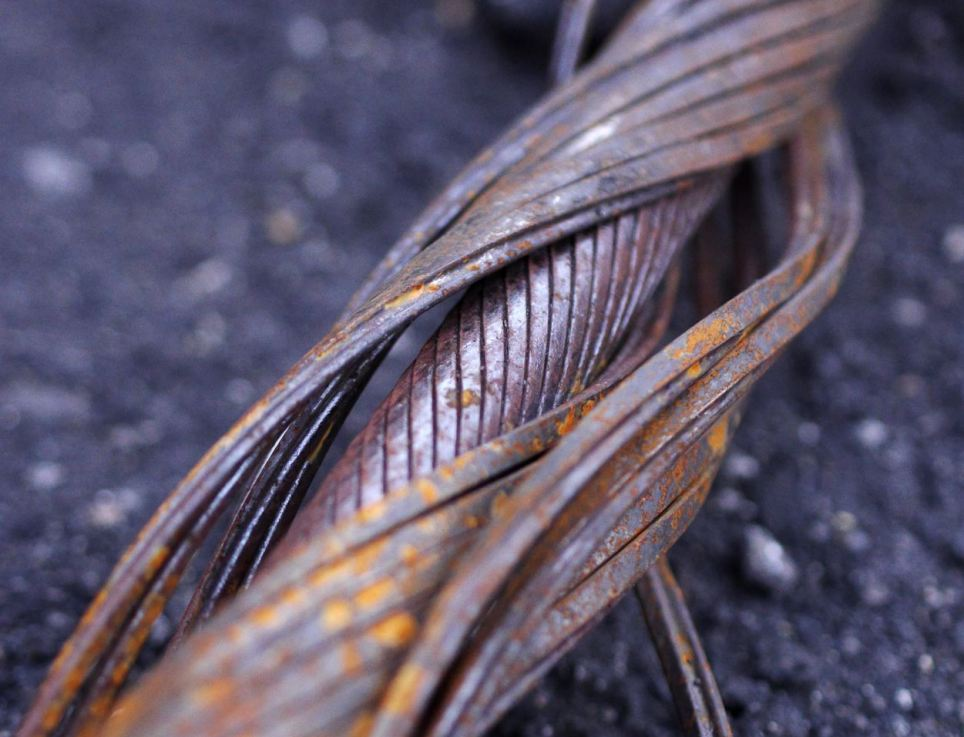 Signs of ageing: A discarded piece of track cable has been frayed and left rusted by almost 60 years of constant use