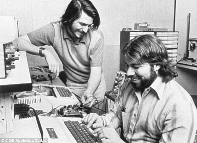 Starting point: Jobs and Steve Wozniak (pictured here in 1976) built their first 50 computers in the garage