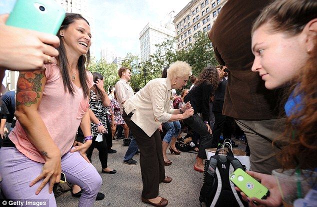 Age is No Barrier To Twerking: Joan Wind, 73, gets her twerk on during the Guinness World Record And Big Freedia Twerking Event at Herald Square on September 25, 2013 in New York City