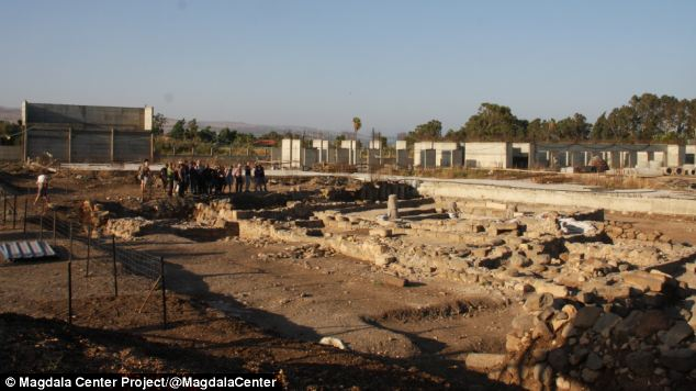 The synagogue ruins, pictured, were first uncovered in 2009 and it is thought to date back around 2,000 years.