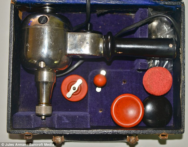 The vibrators come packed neatly in cases with a number of different attachments, and resembles an old-fashioned drill and its bits