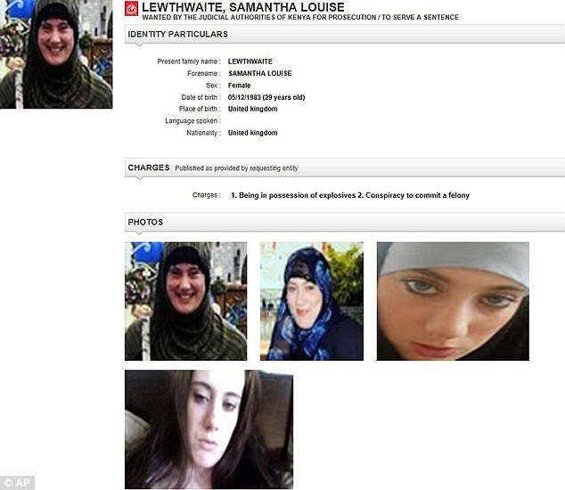 The Interpol webpage showing the arrest notice for Samantha Lewthwaite, the fugitive Briton dubbed the White Widow'