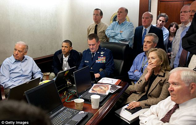 President Barack Obama, Vice President Joe Biden, Secretary of State Hillary Clinton and members of the national security team watch the raid live from the White House's Situation Room on May 1, 2011