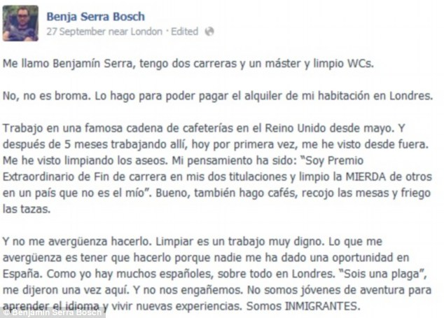 Online rant: Benjamin Serra Bosch's Facebook post on how, despite having three degrees he is forced to work in a cafe in London as he cannot find any employment in Spain