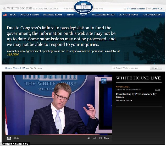 White House Press Secretary Jay Carney briefed reporters on Wednesday, live-streamed on a website that the administration complained was partially inactive due to the government's slimmed down operations