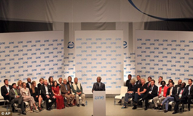 Summit: Former United Nations Secretary-General Kofi Annan (centre) addresses delegates during the opening ceremony for the One Young World summit. Mr Geldof is pictured centre right, next to Sir Richard Branson